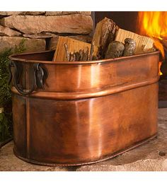 This is what we are going to keep our firewood in. We have Chris' grandmothers copper boiler