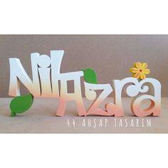 Bahar temalı Nil Azra ahşap isimlik - Spring themed Nil Azra wooden name | 44ahsaptasarim@gmail.com