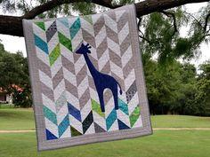 Baby Quilt - Giraffe Quilt -Herringbone Baby Quilt by MyScrapQuilts on Etsy https://www.etsy.com/listing/239281403/baby-quilt-giraffe-quilt-herringbone