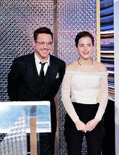 "pattinson-mcguinness: "" Robert Downey Jr and Emma Watson @ BAFTA LA Britannia Awards 2014 "" Iron Man Movie, Character Design Girl, Photo Awards, Iron Man Tony Stark, Super Secret, Marvel Films, Teen Choice Awards, Downey Junior, Emma Roberts"