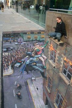 A Batman and Robin street art illusion. This is a photo op I would stop for!