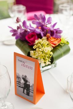 Simple table numbers with pictures of couple