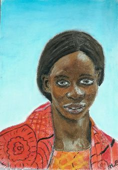 Mercy uit Nigeria, ontkwam aan Boko Haram. Mijn tweede portret in oliepastel. Het materiaal had ik nu beter in de vingers. Maar ik ben helaas weer op de vierkante millimeter gaan werken, terwijl bij het vorige oliepastel portret juist dat hoekige zo gaaf werd. Leerpuntje voor de volgende!