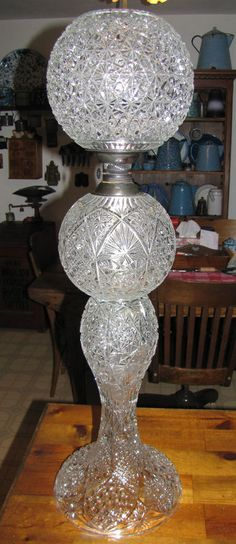 American Brilliant cut glass lamp! Just imagine it lit up! Spectacular!
