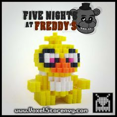 3D Chica (Five Nights at Freddy's) perler beads by Voxel
