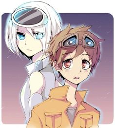 In this cute anime wallpaper, we see Wall-e and Eve. Well, more like anime personified.