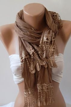 Caramel Brown  and Elegance Shawl / Scarf by womann on Etsy, $19.00::  Cute scarf, but I really like how it's worn::