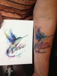 Hummingbird Watercolor Painting to Tattoo