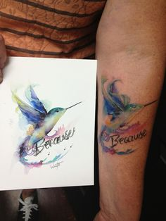 Hummingbird Watercolor Painting to Tattoo