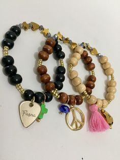 Mix trio pulseras Fasna brecelets moda jewelry joyas fashion design Venezuela Panama USA españa bijou madera wood