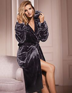 Satin Trim Hooded Dressing Gown | M&S