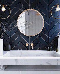 Future Home Interior navy blue tile wall bathroom Bad Inspiration, Bathroom Inspiration, Bathroom Wall, Small Bathroom, Bathroom Ideas, Remodel Bathroom, Blue Bathroom Tiles, Art Deco Bathroom, Glass Bathroom