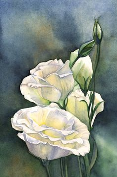 Lisianthus print of watercolor painting L1815  A4 by LouiseDeMasi
