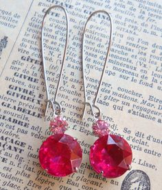 Fuchsia Pink Vintage Swarovski Drop Earrings by by LoubirdsNest, $16.00
