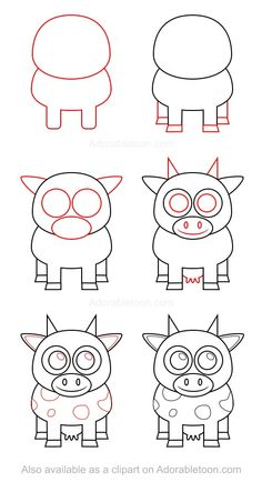 You can draw a cow using this simple tutorial and impress friends and family with your new drawing abilities! Cute Cartoon Drawings, Art Drawings For Kids, Doodle Drawings, Drawing For Kids, Animal Drawings, Art For Kids, Elephant Drawings, Cow Drawing, Baby Drawing