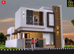 Best 30 Front Elevation designs For 2 Floor House Indian House Exterior Design, Modern Exterior House Designs, Modern Small House Design, Modern House Facades, Home Modern, Kerala House Design, Small Modern Houses, Modern Bungalow Exterior, House Outside Design