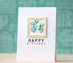 Butterfly Birthday Card by Laura Bassen for Papertrey Ink (February 2014)