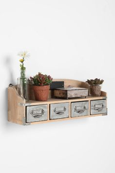 UrbanOutfitters.com > Reclaimed Wood Card Catalog Shelf - we're always looking for more ways to display plants and knick knacks, i love the drawers as an added storage bonus!