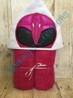 "Pink Ranger Applique Hooded Bath Towel, Beach Towel Cover Up 30"" x 54""  Personalization Available by MommysCraftCreations on Etsy"