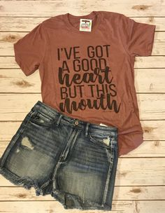 Shorts cute tshirts, funny shirts, mom shirts, couple shirts, cool t shirts Cute Tshirt Sayings, Cute Tshirts, Shirts With Sayings, Mom Shirts, Funny Shirts, T Shirts For Women, Funny Tanks, Shirt Quotes, Country Style Outfits