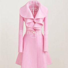 Luxury Lady Flouncing Long Sleeve Long Woolen Pink Winter Coat ($34) ❤ liked on Polyvore