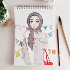 Drawing Of Girls Sketches Cartoon - Drawing Hijab Anime, Anime Muslim, Art And Illustration, Cute Drawings Tumblr, Drawing Sketches, Art Drawings, Hijab Drawing, Islamic Cartoon, Hijab Cartoon