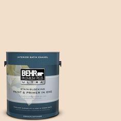 BEHR Premium Plus Ultra 1-gal. #S250-1 Macaroon Cream Satin Enamel Interior Paint