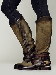 WILDLY gorgeous distressed and burnished leather, amazingly detailed boot by italian designer A.S.98....