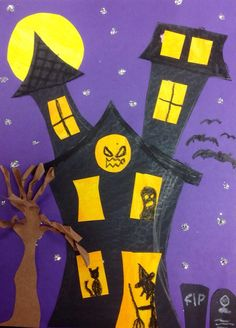 Haunted Halloween Houses Third graders will be starting these haunted house collages next week. I'm looking forward to seeing how they personalize their own! More from my site Halloween Mordrätsel 129 World`s Insanest Scary Halloween Haunted House Ideas Deco Porte Halloween, Diy Halloween, Theme Halloween, Bricolage Halloween, Manualidades Halloween, Easy Halloween Decorations, Halloween Haunted Houses, Halloween Crafts For Kids, Halloween Pictures
