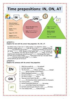 Time Prepositions: IN, ON, AT worksheet - Free ESL printable worksheets made by teachers