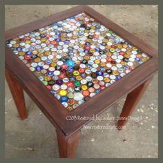 "Custom-built beer cap ""man table"""
