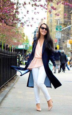 {Spring Weekends} Zara Navy Draped Trench, Piperlime Asymmetric Top, White Denim, Mint Clutch, Nude Heels, Burberry Cateye Sunglasses