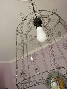 Cute way to dress up an ordinary overhead light fixture.