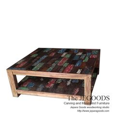 Rustic Boat Painted Coffee Table for ethnic living room style.  We produce & supply #rusticfurniture style #farmhousefurniture style made of teak & mindi wood. Best traditional handmade construction with high quality artisan made at affordable price. http://jeparagoods.com