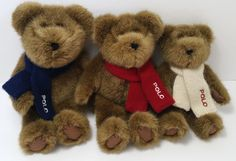 "2001 RALPH LAUREN POLO Set of 3 Brown Plush Stuffed Teddy Bear Toy 10"" 9"" 8"" #RalphLauren"