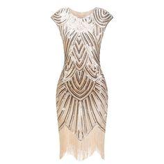 672b3ea90f7 Vintage 1920s Flapper Great Gatsby Dress O-Neck Cap Sleeve Sequin Fringe  Party Midi Dress