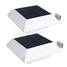 HOSHINE2 Pack Solar Powered Gutter Lights security light Outdoor Solar Powered 6 Led Waterproof Durable Fence Driveway Garden Patio Path Decking Light Made For Quality Outdoor Life * See this great product-affiliate link-affiliate link.