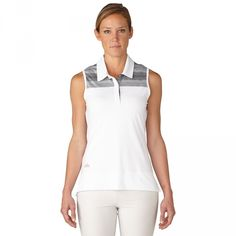 Check out what #lorisgolfshoppe has for your days on and off the golf course! Adidas Ladies Multi Melange Stripe Sleeveless Golf Shirts - White