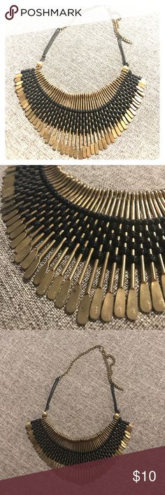 Statement Necklace statement Necklace - gold with woven black fabric. Adjustable necklace Jewelry Necklaces