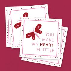 Heart Flutter Free Printable Butterfly Valentines