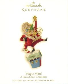 Hallmark Keepsake Ornament A Santa Claus Christmas Magic Man 2008  Brand: Hallmark - From The Santa Claus Christmas Collection Product Type: Keepsake Holiday Ornament Year issued: 2008 UPC: 795902041045 Item no: QP1624 Features: Handcrafted size: 4.5 inch Artist: Sharon Visker Holiday: Christmas