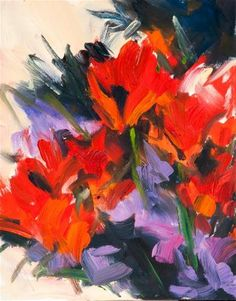 """KMA2720 The End of Silence (8x10 oil abstract red flowers)"" by Kit Hevron Mahoney"
