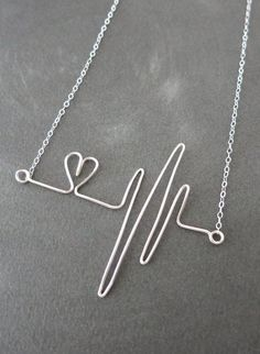Heartbeat Necklace - Sterling Silver Wired, hand wired heartbeat pendant, doctor...