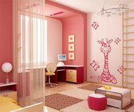 """One of best selling kids wall decals! Adorable extra large pink giraffe wall decal will make a """"tall""""  statement in your nursery or kids room! FREE SHIPPING!!!! Giraffe size : 53"""" height x 36"""" wide , butterflies 7"""" x 7"""" -  11"""" x 11""""."""
