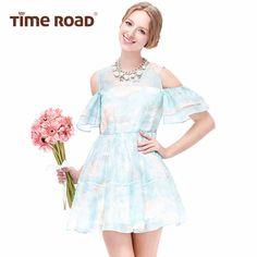 Timeroad汤米诺夏新款韩版公主风荷叶袖露肩连衣裙T18113193033-tmall.com天猫