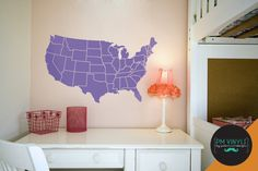 Map of the Continental US Vinyl Wall Decal  MAP001 by PMVinyls