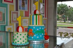 Pool Party Beach First Birthday Cake and Smash Cake  www.leahssweettreats.com  leah's sweet treats