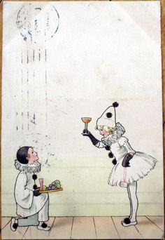 1911 Color Litho Postcard: Children Dressed as Pierrot Clown, Drinking