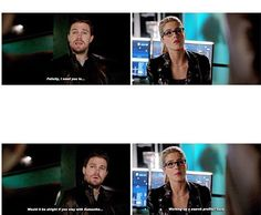 This scene was funny! I loved the look Felicity gave him. #Arrow 4x15 #Olicity