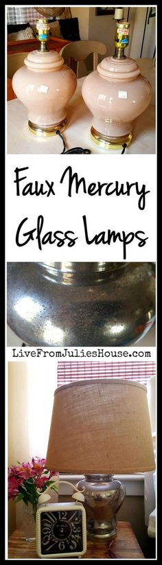 For the Thrift Store Decor Upcycle Challenge I transformed these outdated lamps with a faux mercury glass finish and new burlap shades. Check out the upcycle projects from 20 other bloggers too!                                                                                                                                                                                 More